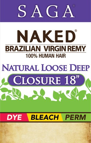 NAKED BRAZILIAN NATURAL LOOSE DEEP CLOSURE 18